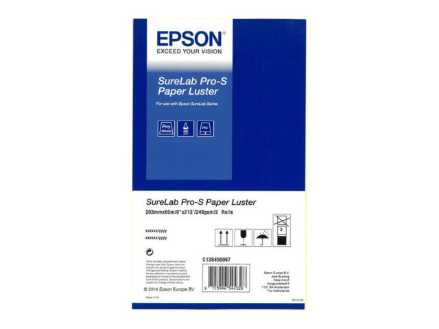 "Epson SureLab Pro-S Paper Luster Rulle 8"" x 65m 2-pack"