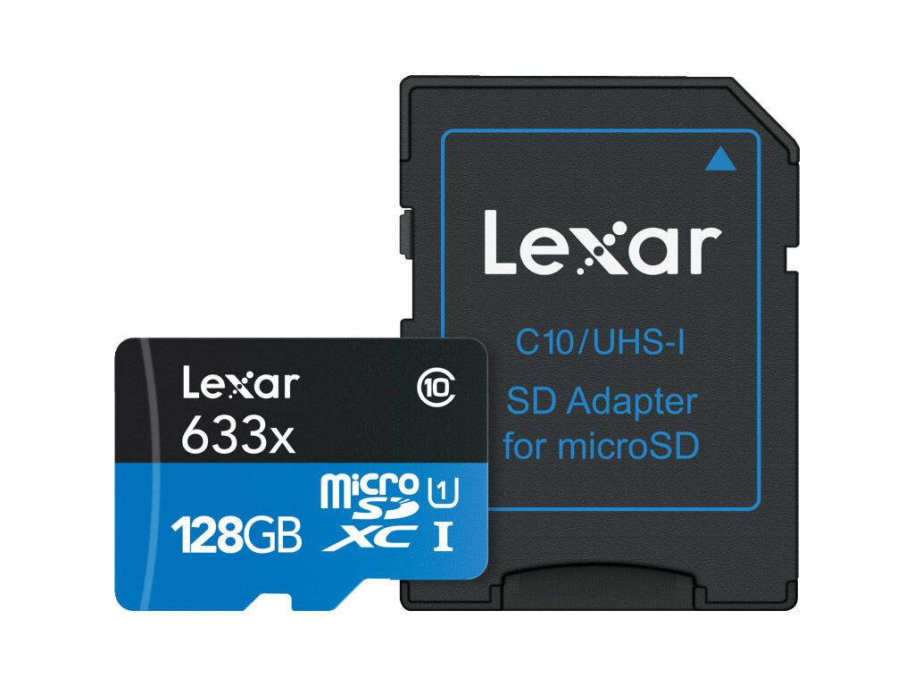Lexar Minneskort Secure Digital Micro 128GB SDXC 633x 95 mb/s UHS-1 C10 + SD-adapter