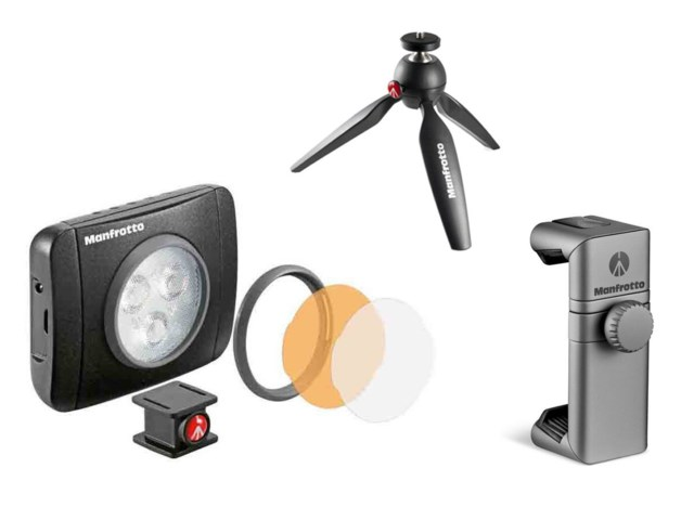 Manfrotto Bordsstativ Pixi  + LED-belysning Lumie Muse 3 +