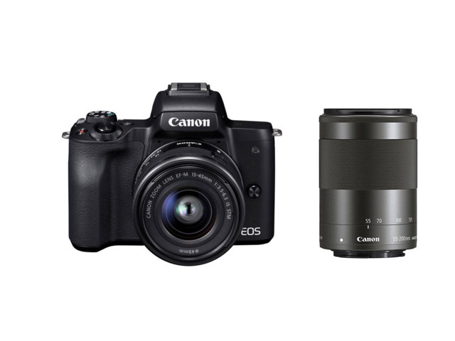 Canon Canon EOS M50 sort med EF-M 15-45/3,5-6,3 IS STM + EF-M 55-200mm f/4,5-6,3 IS STM