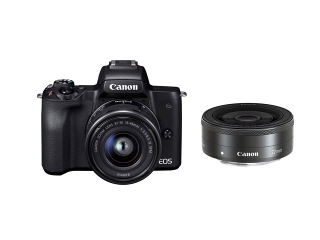 Canon EOS M50 sort med EF-M 15-45/3,5-6,3 IS STM + EF-M 22mm f/2 STM