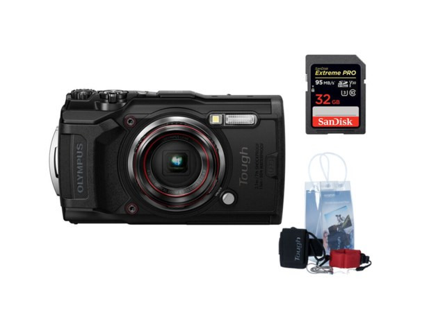 Olympus Tough TG-6 Svart + adventure kit + SDHC Extreme Pro 32GB 95MB/s UHS-I U3 V30