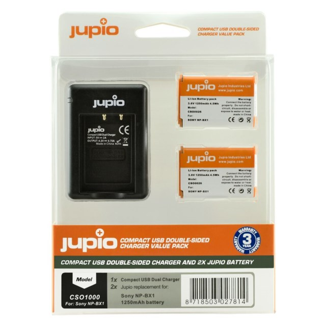 Jupio NP-BX1 1250mAh 2-pack + USB Double-Sided Charger Sony