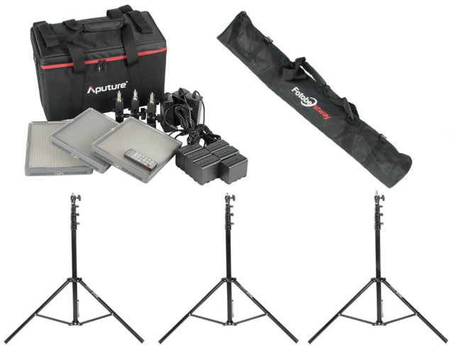 Aputure LED-locationkit 3 x Amaran 672C + lightstand